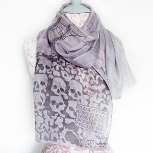 Paris Catacombs Scene Silk Scarf - women's accessories sale