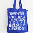 Personalised Gig Goer's Canvas Shopper Bag