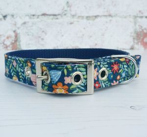 Dog Collar Traditional Buckle Midnight Garden - pet collars