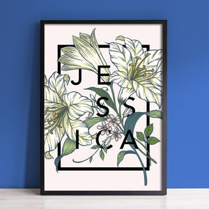 Personalised Name Typography Floral Print - summer sale