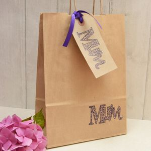 'Mum' Gift Bag And Tag - ribbon & wrap