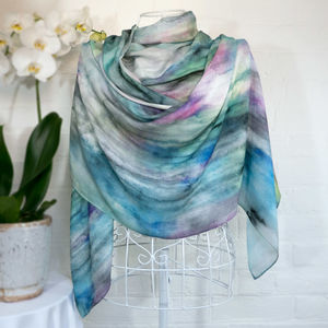 'Island Rain' Large Luxury 100% Wool Scarf Wrap - womens