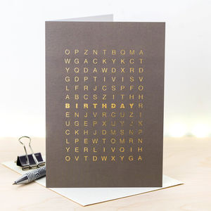 Birthday Card; Metallic Gold Foil Word Search