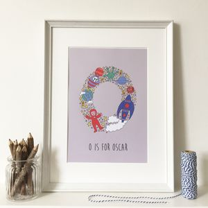 Personalised Alphabet Illustration Print - baby's room
