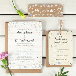 Floral, Kraft And Stripe Wedding Invitation Bundle - wedding stationery
