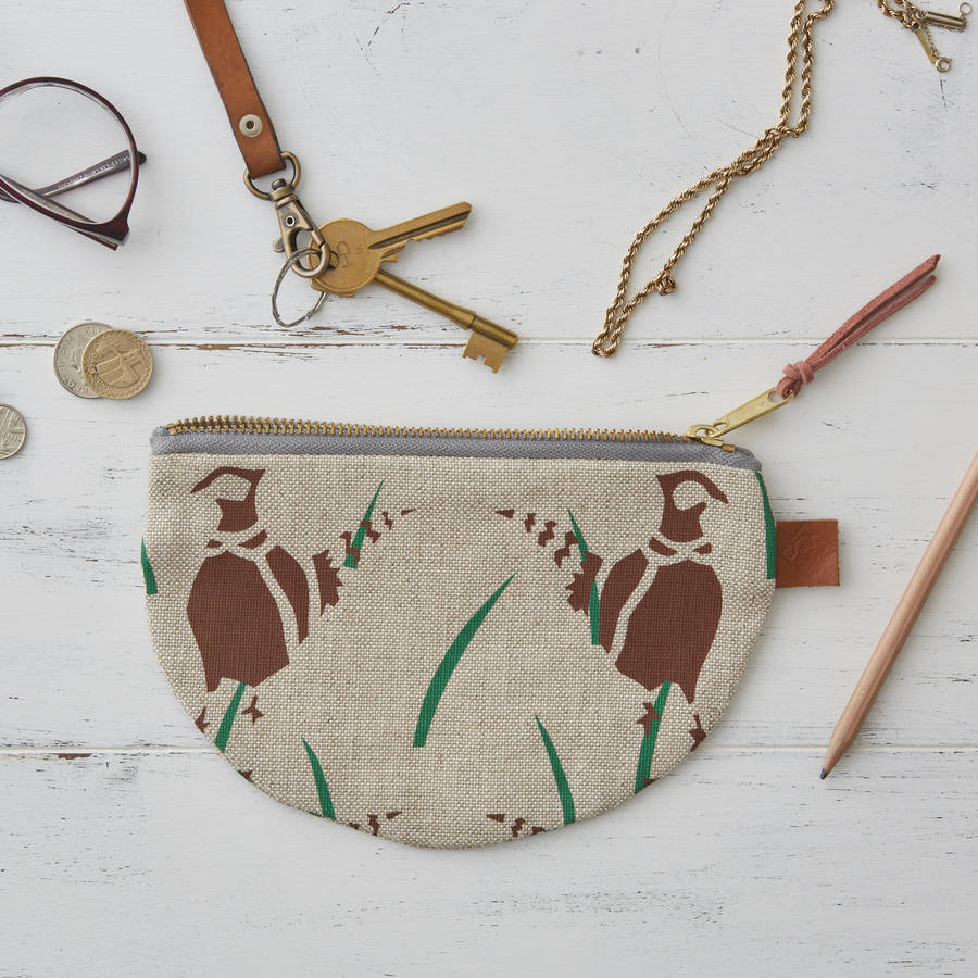 Pheasants Bird Half Moon Linen Purse