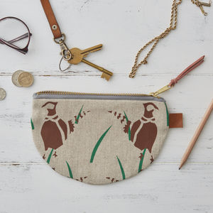Pheasants Bird Half Moon Linen Purse - bags & purses
