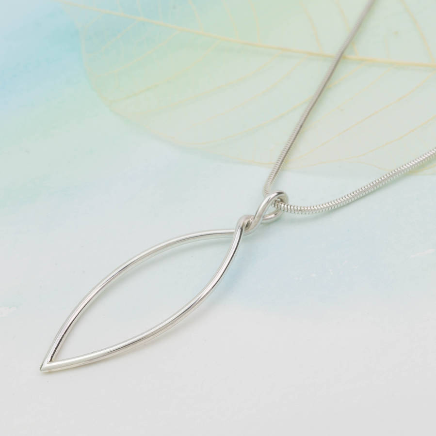 Handmade sterling silver leaf outline pendant by louise mary designs handmade sterling silver leaf outline pendant mozeypictures Image collections