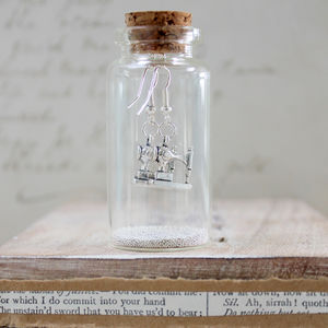Sewing Machine Earrings In A Bottle - personalised jewellery