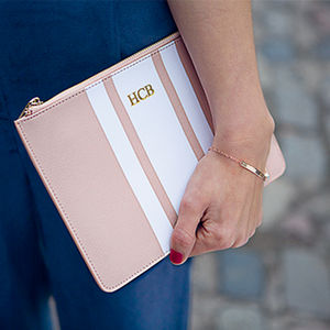 Personalised Saffiano Leather Stripe Pouch - heartfelt gifts for her