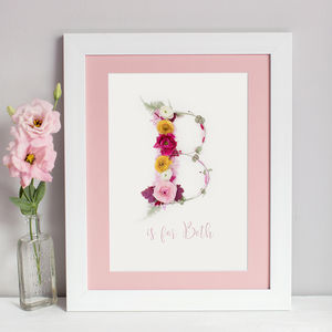 Personalisable Floral Initial Print - for your sister-in-law