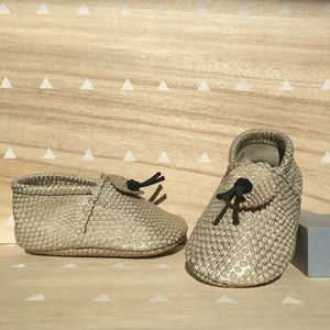 Gold / Cream Snake Print Leather Baby Booties - shoes & footwear