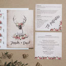 Stag And Rose Country Wedding Invitation Set