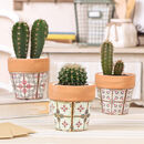 Set Of Three Pastel Mosaic Plant Pots