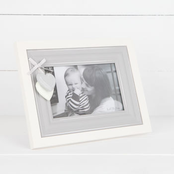 Grey Wooden Photo Frame With Hanging Hearts