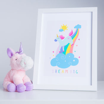 Unicorn And Rainbow 'Dream Big' Print