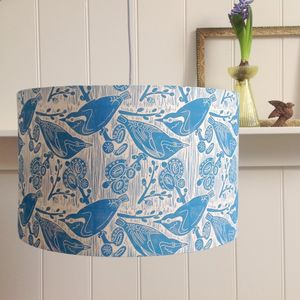 Nuthatches And Willow Lampshade Block Printed By Hand - dining room