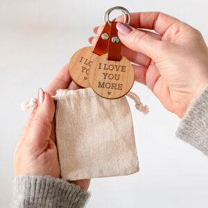 Engraved 'I Love You / More' Keyring Pair For Couples