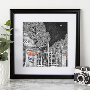 Personalised Initials Strawberry Field Print - engagement gifts