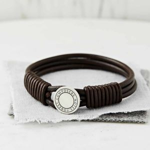 Silver And Leather Coded Coordinate Bracelet - bracelets