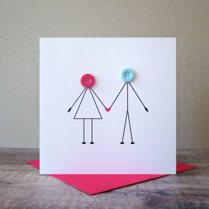 Couple Holding Hands Button Card - weddings