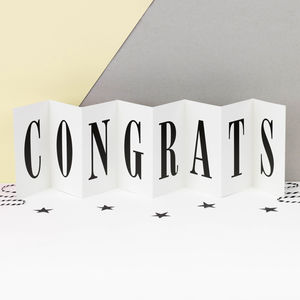 Congratulations Card; 'Well Done Congrats' Concertina - engagement cards