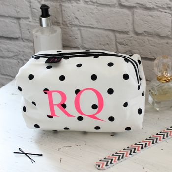 Personalised Black And White Spot Wash Bag