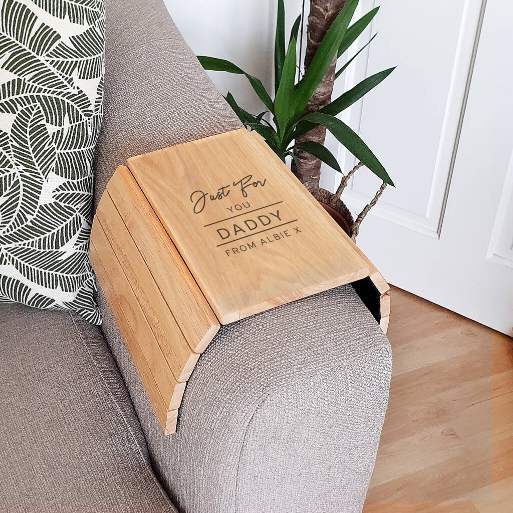 Personalised Classic Wooden Sofa Armchair Tray By ...