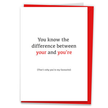 'You're My Favourite' Valentine's Day Grammar Card