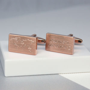 Engraved World Map And Coordinates Cufflinks - cufflinks