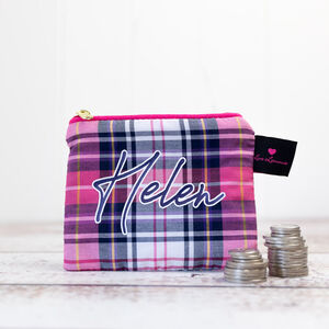 Personalised Coin Purse Pink Tartan