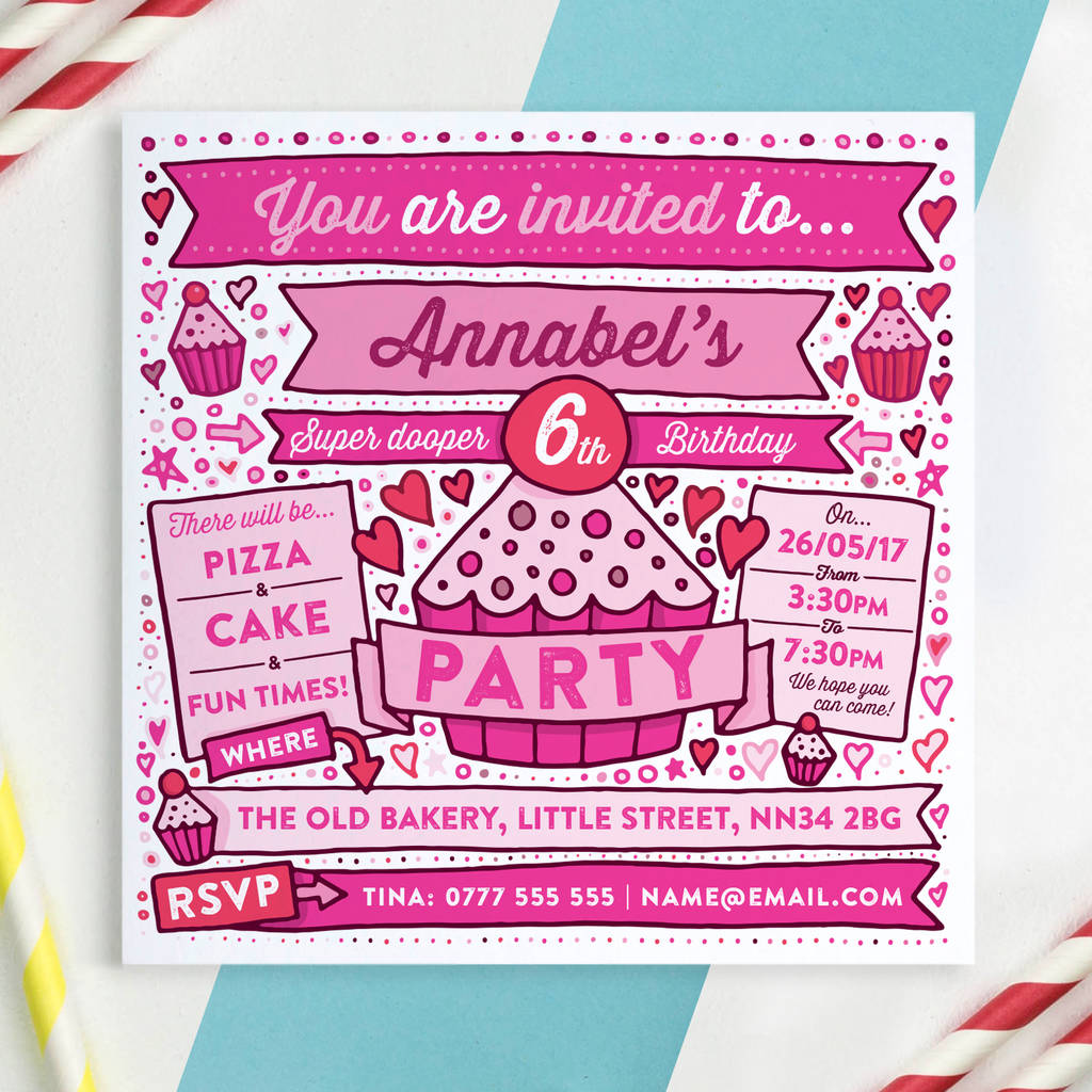 girls birthday party invitations by a is for alphabet