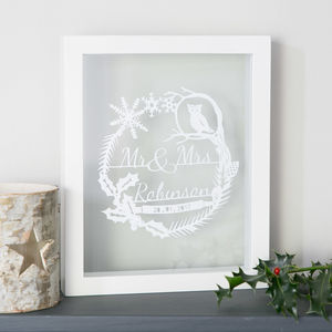 Personalised Winter Wedding Papercut
