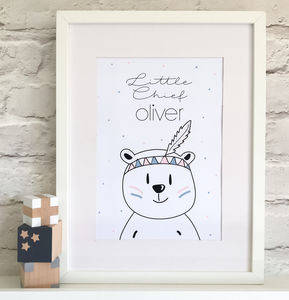 Little Chief Nursery Print - pictures & prints for children