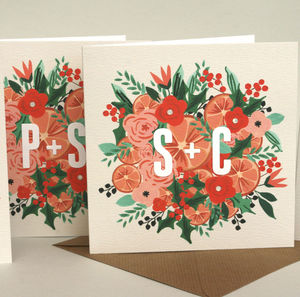 Personalised 'Floral Wreath' Christmas Card