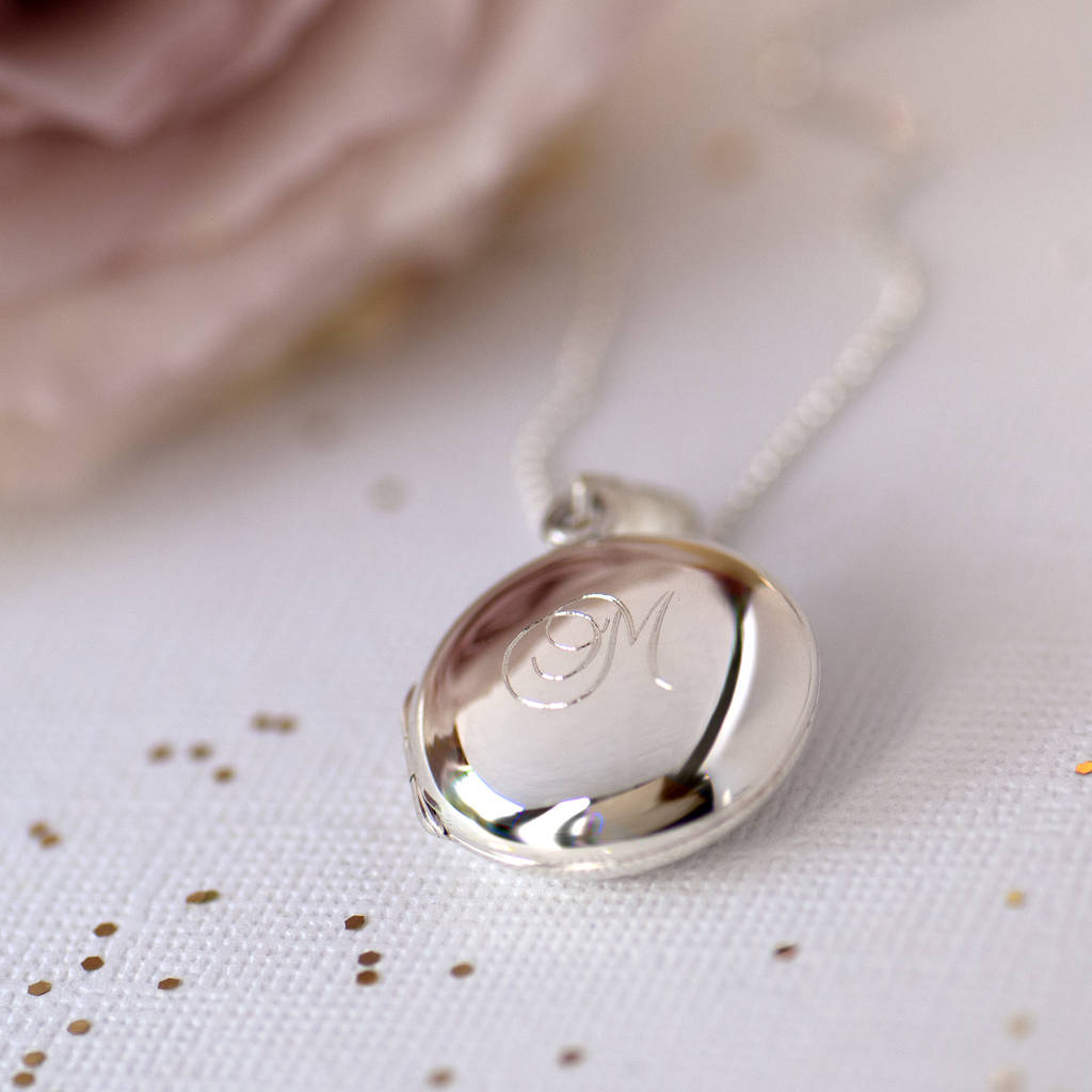 Monogram Initial Personalised Sterling Silver Locket by Grace &Amp; Valour