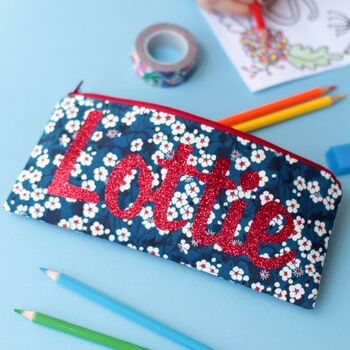 Liberty Glitter Name Pencil Case Gift For Girl