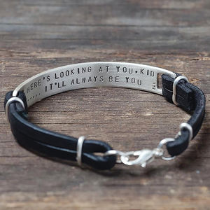 Men's Personalised Silver Hidden Message Bracelet - for him