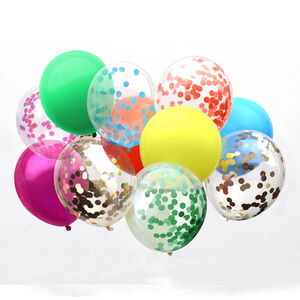 Set Of 12 Mix Rainbow Colour And Confetti Balloons