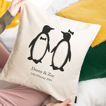 penguins cushion personalised