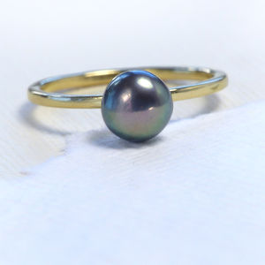 Peacock Pearl Stacking Ring, 18ct Eco Gold - rings