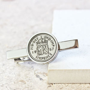 Dates 1928 To 1967 Sixpence Tie Slide - men's accessories