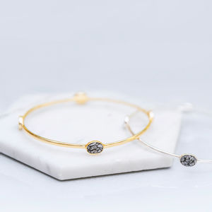 Gold And Silver Crushed Diamond Stacking Bangle - bracelets & bangles