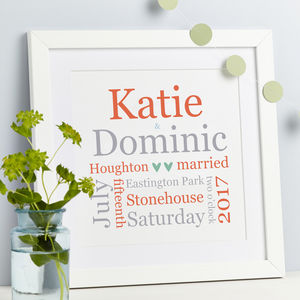 Personalised Wedding Gift Typographic Print - 100 best wedding prints
