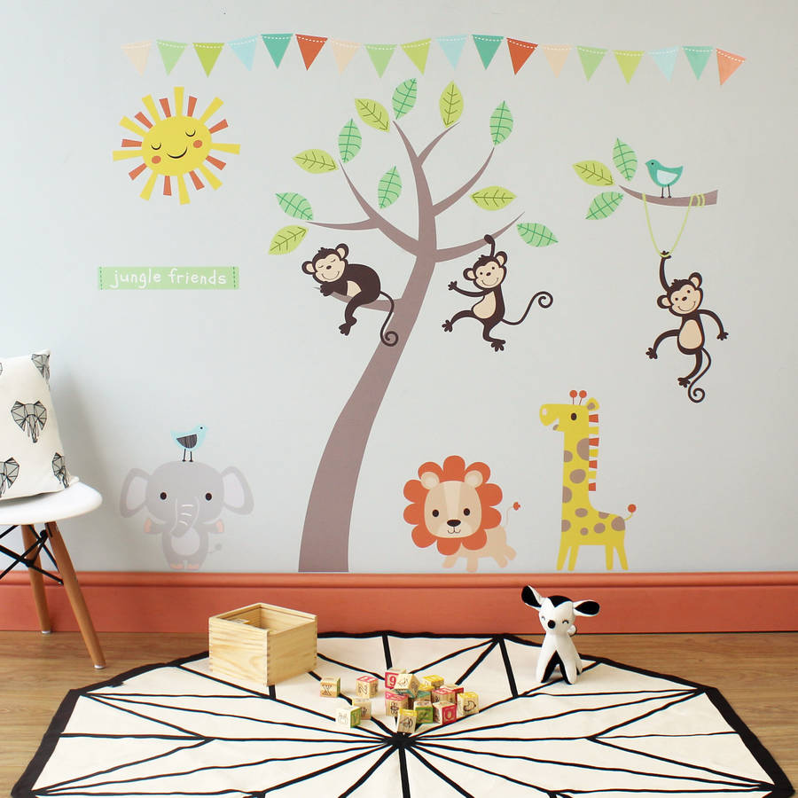 Pastel Jungle Animal Wall Stickers   Decorative Accessories