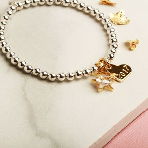 Personalised Christmas Star Charm Bracelet Gift For Her