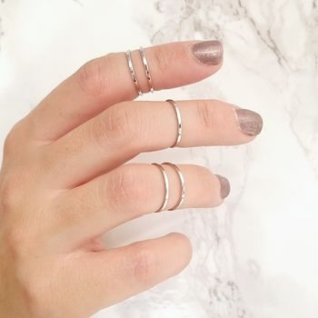 Minimalist Silver Midi Rings Set Of Five