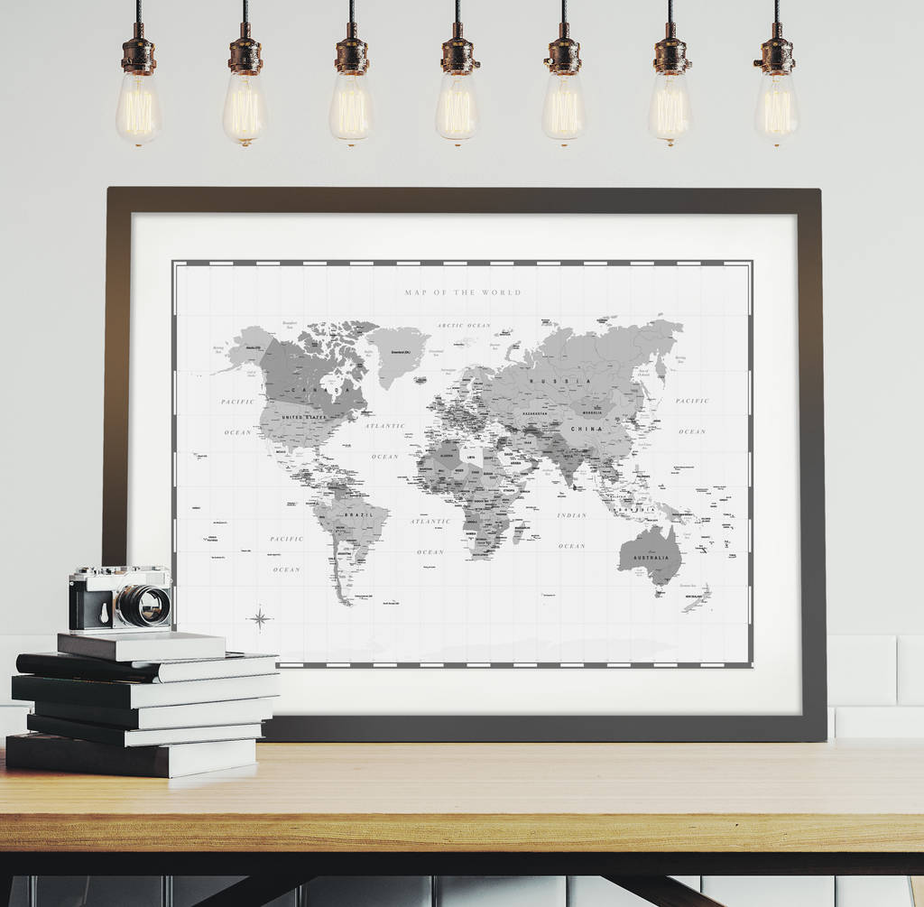 world map personalised print by over & over