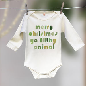 'Merry Christmas Ya Filthy Animal' Film Quote Babygrow