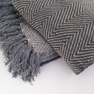 Fringed Grey Chevron Woven Throw